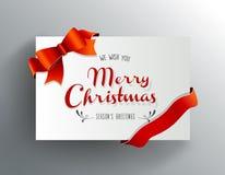 Weihnachtsgrußkarte mit Wünschen der frohen Weihnachten Stockbild