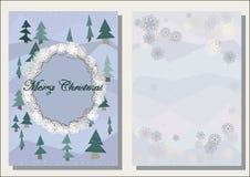 Weihnachtsgrußkarte, polygonale Tannenbäume, schäbiger Winterdekor, Front und Drehungsseite, Lizenzfreie Stockfotografie