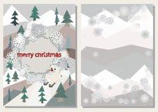 Weihnachtsgrußkarten-Abdeckung Schablone, polygonale Tannenbäume, schäbiger Winterdekor, Schneemann auf Skis Stockfotos