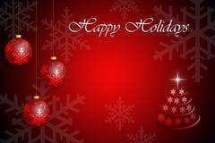 Weihnachtsgrußkartenschablone in der roten Farbe Stockbild