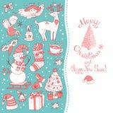 Weihnachtsgrußkartenschablone, vector fröhliches Winter Stockfotografie
