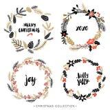 Weihnachtsgrußkränze mit Kalligraphie Lizenzfreie Stockfotos