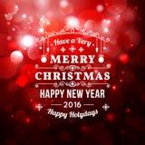 Weihnachtsgrußkarte mit Weihnachtstypographie, bokeh Vektorhintergrund Stockbild