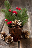 Weihnachtsgutschein mit Feiertagszusammensetzung Stockfotografie