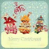 Weihnachtshäuser und -schnee Stockfotos