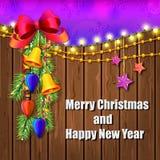 Weihnachtshölzerne Illustration mit Dekorationen Lizenzfreie Stockfotografie