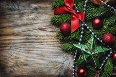 Weihnachtshölzerner Hintergrund Stockfoto