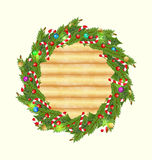 Weihnachtshölzerner Hintergrund mit Feiertagsdekoration Stockbild