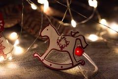 Weihnachtshölzernes Pferd stockbilder