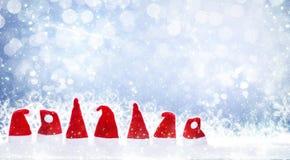Weihnachtshüte, Schneesterne Stockfotos