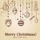 Weihnachtshand gezeichnete dekorative Postkarte Stockbild