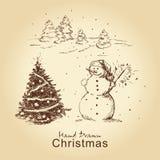 Weihnachtshand gezeichnete Karte Lizenzfreie Stockfotos