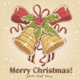 Weihnachtshand gezeichnete Retro- Postkarte Lizenzfreie Stockbilder