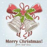 Weihnachtshand gezeichnete Retro- Postkarte Stockbilder