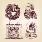 Weihnachtshand gezeichnetes Set Lizenzfreies Stockfoto