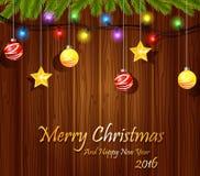 Weihnachtshanddesign mit Bällen Stockfotografie