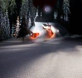 Weihnachtshaus in den Karpaten stockbild