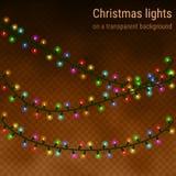 Weihnachtshauslichter auf einem transparenten Hintergrund Lizenzfreie Stockfotografie