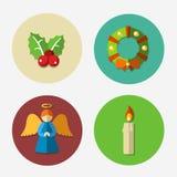 Weihnachtshelle Ikonensammlung - Vektorillustration Stockfotos