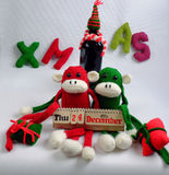 Weihnachtshintergrund, Affe, Weinflasche, Weihnachten Lizenzfreies Stockfoto