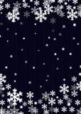 Weihnachtshintergrund, blaues hölzernes Plankenbrett mit unscharfen weißen Schneeflockensternen und Schneebällen, Vektor eps10 lizenzfreie abbildung
