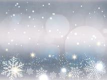 Weihnachtshintergrund, Bokeh-Schneeflocken, grauer Hintergrund, roter Ball, Weihnachtsbaumhintergrund lizenzfreie abbildung