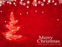 Weihnachtshintergrund, Bokeh-Schneeflocken, roter Hintergrund, Stockbild