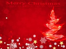 Weihnachtshintergrund, Bokeh-Schneeflocken, roter Hintergrund, Stockfotos