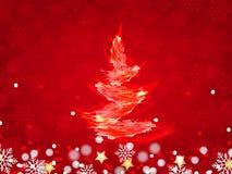 Weihnachtshintergrund, Bokeh-Schneeflocken, roter Hintergrund, Stockfoto