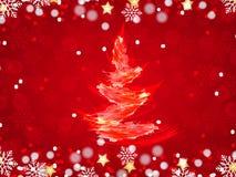 Weihnachtshintergrund, Bokeh-Schneeflocken, roter Hintergrund, Stockbilder