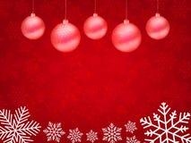 Weihnachtshintergrund, Bokeh-Schneeflocken, roter Hintergrund, Lizenzfreies Stockbild