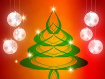 Weihnachtshintergrund, Bokeh-Schneeflocken, roter Hintergrund, roter Ball, Weihnachtsbaum backgrounred Stockbilder