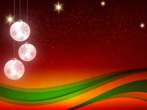 Weihnachtshintergrund, Bokeh-Schneeflocken, roter Hintergrund, roter Ball, Weihnachtsbaum backgrounred Lizenzfreie Stockfotografie
