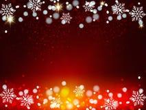 Weihnachtshintergrund, Bokeh-Schneeflocken, roter Hintergrund, roter Ball, Weihnachtsbaum backgrounred Stockfotografie