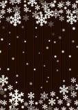 Weihnachtshintergrund, braunes hölzernes Plankenbrett mit unscharfen weißen Schneeflockensternen und Schneebällen, Vektor eps10 vektor abbildung