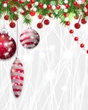 Weihnachtshintergrund, Dekoration des neuen Jahres mit Tannenzweigen, Perlen und Stechpalmenbeere und roter Flitter Vektor vektor abbildung