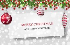 Weihnachtshintergrund, Dekorationsgirlande des neuen Jahres mit Tannenzweigen, Perlen und Stechpalmenbeere und roter Flitter Vekt stock abbildung