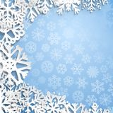 Weihnachtshintergrund der Schneeflocken Stockbild