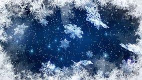 Weihnachtshintergrund, fallende Schneeflocken, verwischte Weihnachtshintergrund, guten Rutsch ins Neue Jahr stock footage
