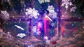Weihnachtshintergrund, fallende Schneeflocken, verwischte Weihnachtshintergrund, guten Rutsch ins Neue Jahr stock video footage