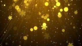 Weihnachtshintergrund-Goldthema mit Schneeflocken, glänzende Lichter in elegantem Stockfotografie