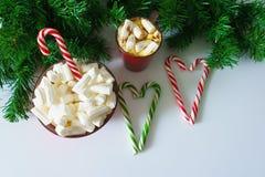 Weihnachtshintergrund, Grußkarte mit einem Tasse Kaffee oder Schokolade mit Eibischen, Lutschern, einer roten Platte und Baumaste Stockfoto