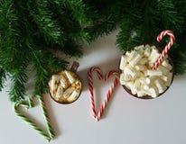 Weihnachtshintergrund, Grußkarte mit einem Tasse Kaffee oder Schokolade mit Eibischen, Lutschern, einer roten Platte und Baumaste Lizenzfreies Stockfoto