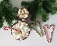 Weihnachtshintergrund, Grußkarte mit einem Tasse Kaffee oder Schokolade mit Eibischen, Lutschern, einer roten Platte und Baumaste Lizenzfreie Stockfotografie