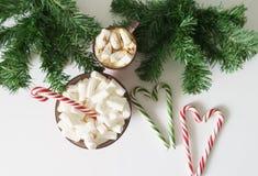 Weihnachtshintergrund, Grußkarte mit einem Tasse Kaffee oder Schokolade mit Eibischen, Lutschern, einer roten Platte und Baumaste Lizenzfreie Stockfotos