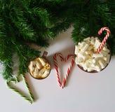 Weihnachtshintergrund, Grußkarte mit einem Tasse Kaffee oder Schokolade mit Eibischen, Lutschern, einer roten Platte und Baumaste Stockbilder