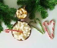 Weihnachtshintergrund, Grußkarte mit einem Tasse Kaffee oder Schokolade mit Eibischen, Lutschern, einer roten Platte und Baumaste Stockbild