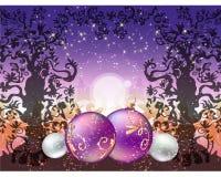 Weihnachtshintergrund mit Bällen Stockfotos