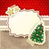 Weihnachtshintergrund mit Baum und Aufkleber Lizenzfreie Stockbilder