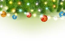 Weihnachtshintergrund mit Baum und Licht Stockfotos